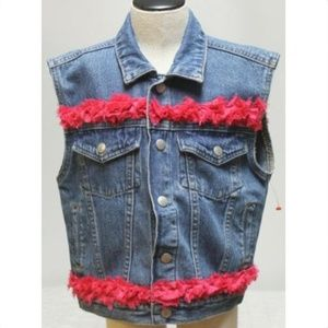 OshKosh B'gosh Denim Vest Jacket Girls Sz 4 Embell